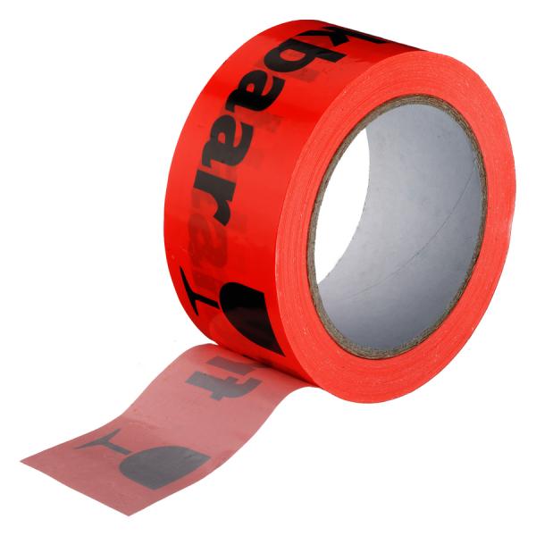 Verpakkingstape, PVC, 50mm x 66m, breekbaar!, fluor rood