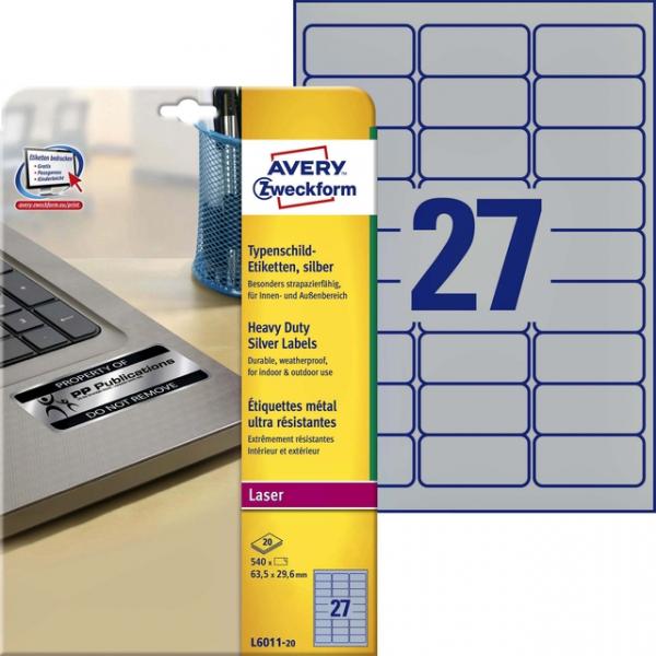 Etiket avery l6011-20 63.5x29.6mm zilver 540st