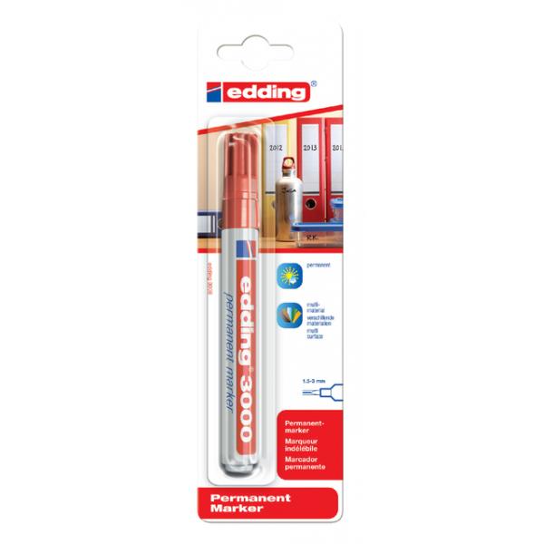 Viltstift edding 3000 perm rond 1.5-3mm rood