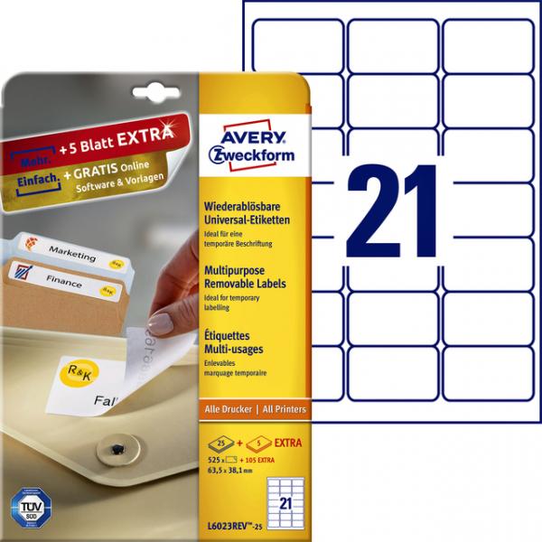 Etiket avery l6023rev25 63.5x38.1mm 525st