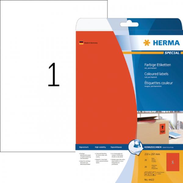 Etiket herma superprint 4422 a4 rood 25st