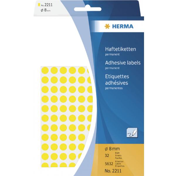 Etiket herma 2211 rond 8mm 5632st geel