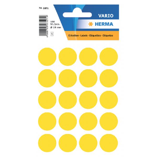 Etiket herma 1871 rond 19mm 100st geel