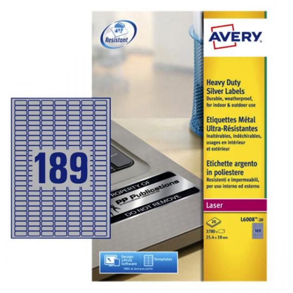 Etiket avery l6008-20 25.4x10mm zilver 3780st