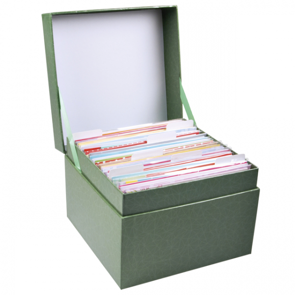 Wenskaartenbox paperclip met inhoud(box.compleet)