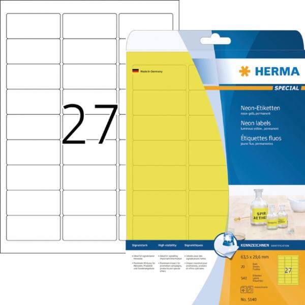 Etiket herma superprint 5140 63.5x29.6mm geel 675s